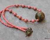 Wood and Seed Bead Necklace - Pink Necklace - Boho Necklace - Mauve Necklace - Wooden Bead Necklace - Dusty Rose Color