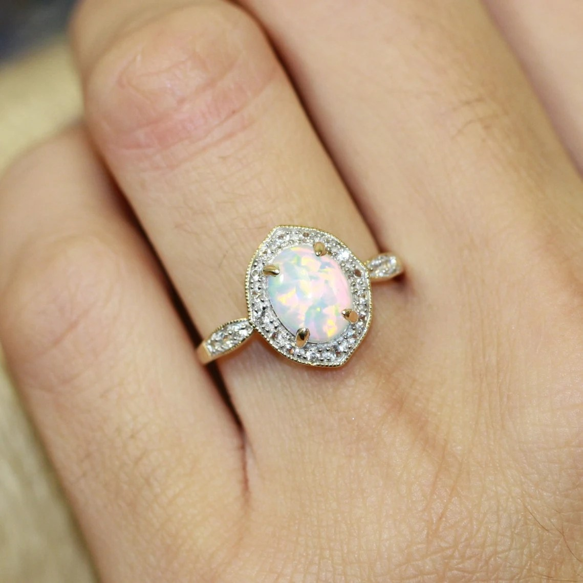 Vintage Inspired Opal Halo Ring In 10k Yellow Gold Opal
