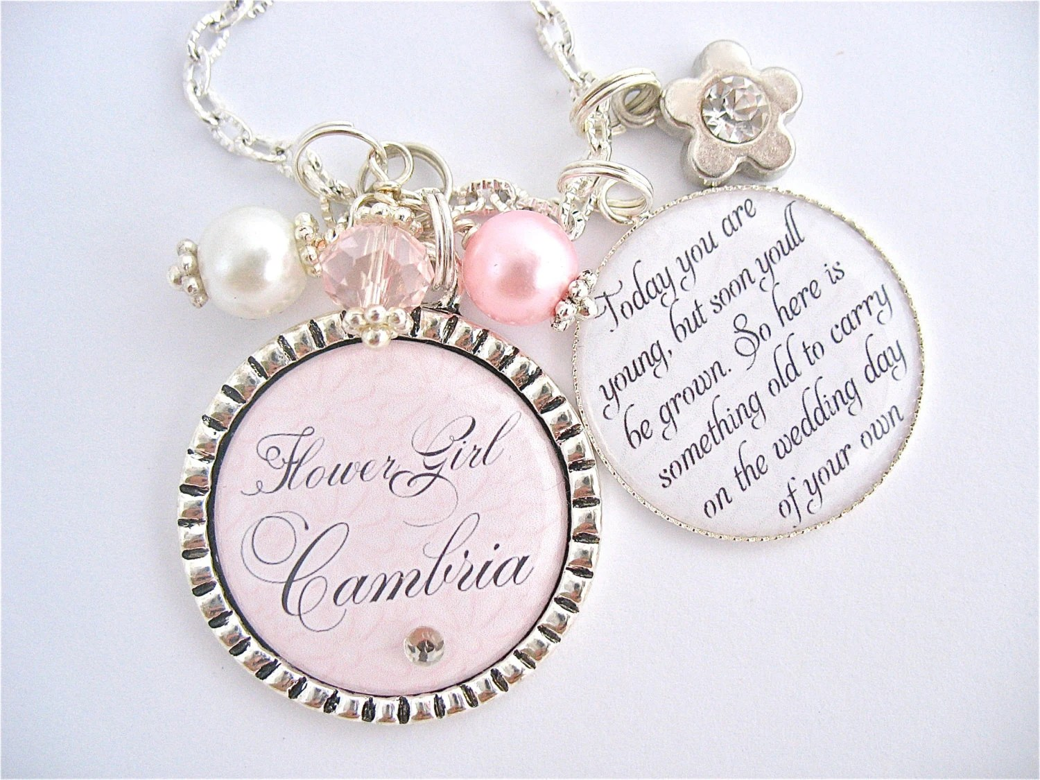 Personalizd FLOWER GIRL Gift Charm Necklace Unique Keepsake