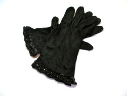 Vintage 1950s Cornelia James Beaded Black 4-button Length gloves