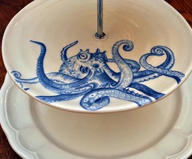 3 Tier Cake Stand Modern Navy White Octopus