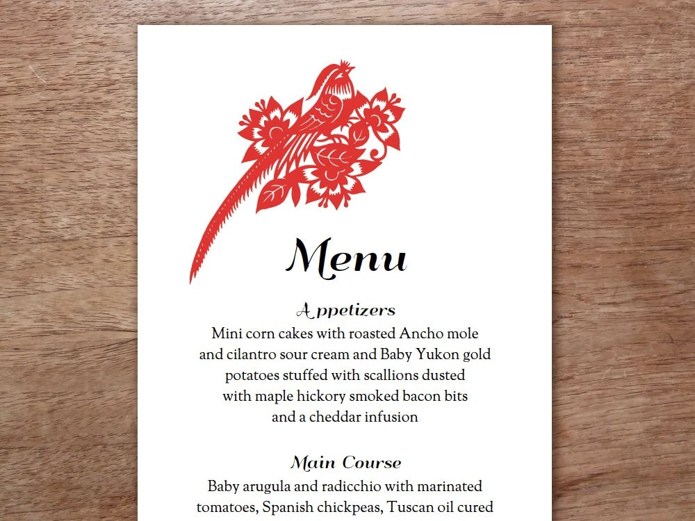 Wedding Menu Red And Black Chinese Paper Art By Empapers