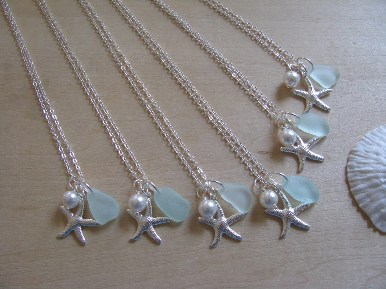 Bridesmaid Gifts Beach Wedding Jewelry Sea Glass Aqua Sea Foam