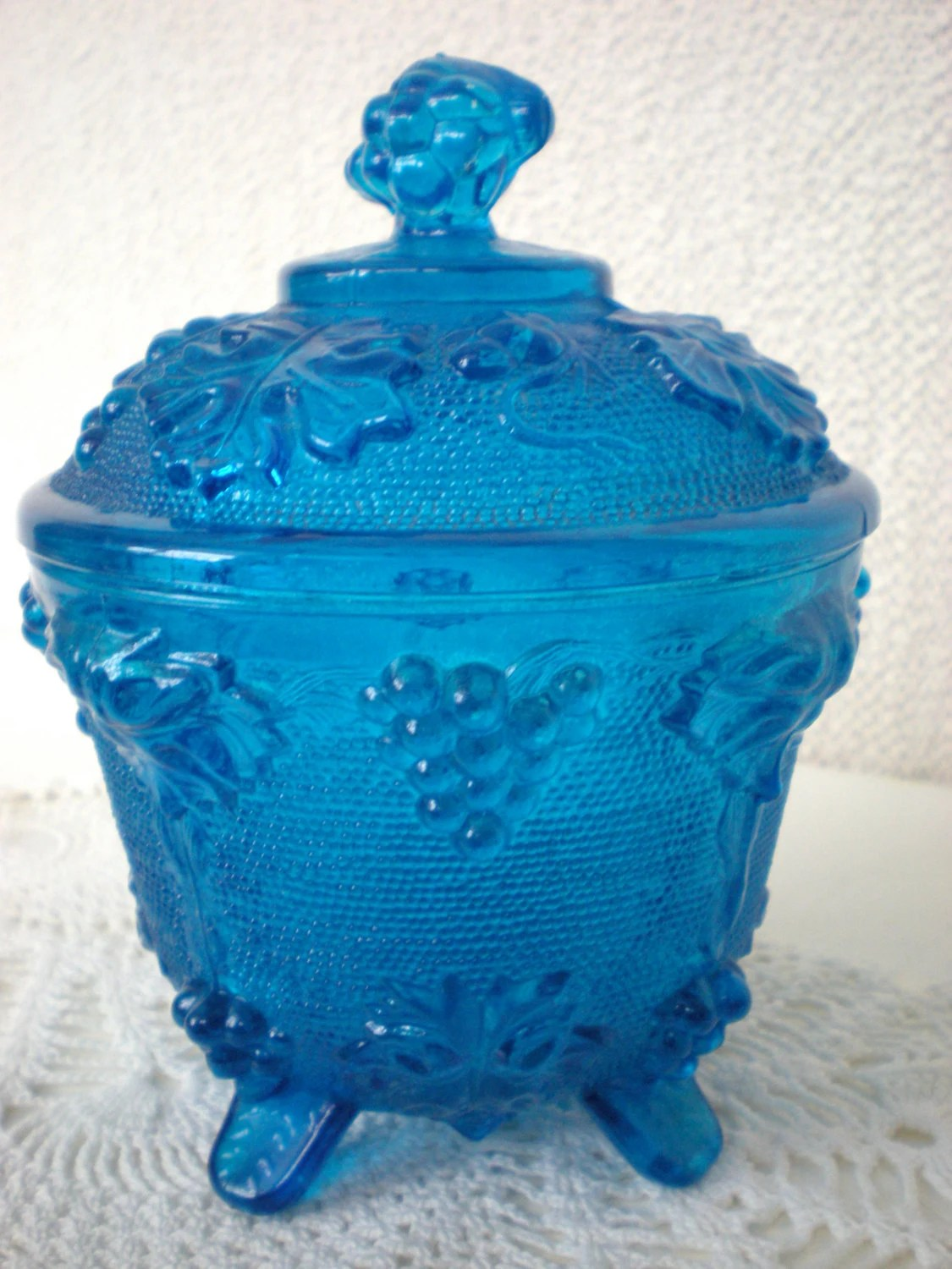 Teal Blue Carnival Glass Jeannette Glass Candy Dish By