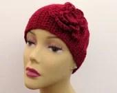 Crochet Red Flower Ear Warmer 18 Inch Headband for Women and Girls - Misspamsliltreasures