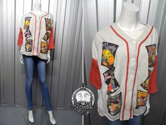 Vintage 90s Looney Tunes Baseball Jersey Raglan Shirt Tweety