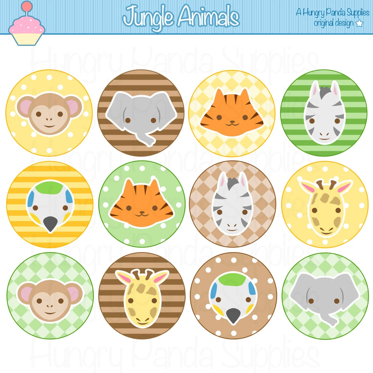 Jungle Animals Cupcake Toppers Printable By Happilyafterdesigns