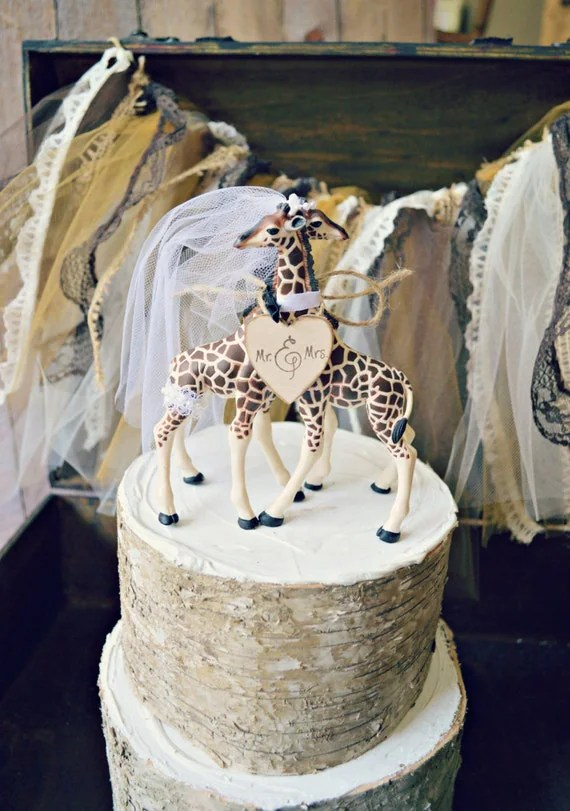 Giraffe Wedding Cake Topper Animal Wedding By MorganTheCreator