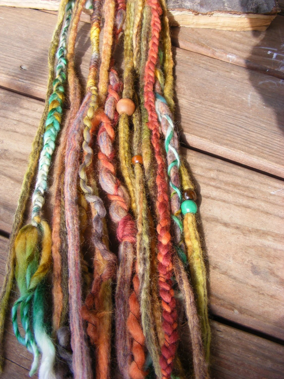 10 SE Woodland Fairy Wool Dreads Dreadlock Extensions Bohemian