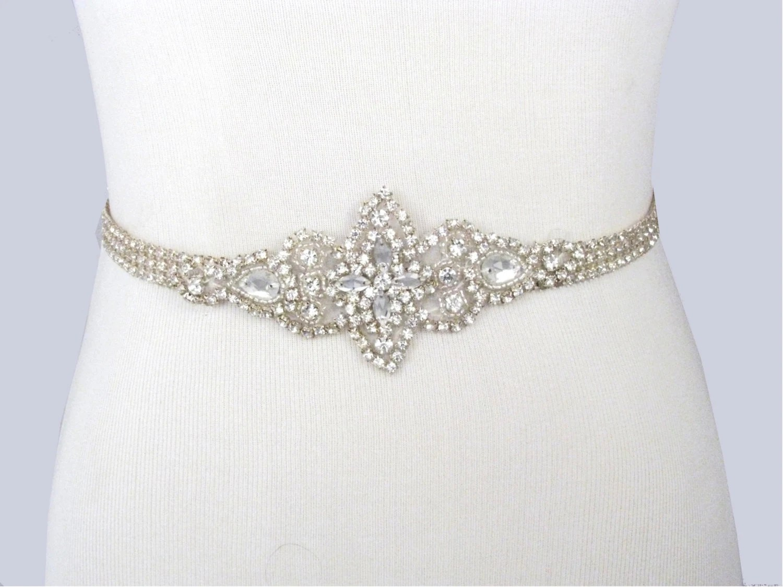 Wedding Dress Sash Rhinestone Bridal Belt Jeweled Beaded