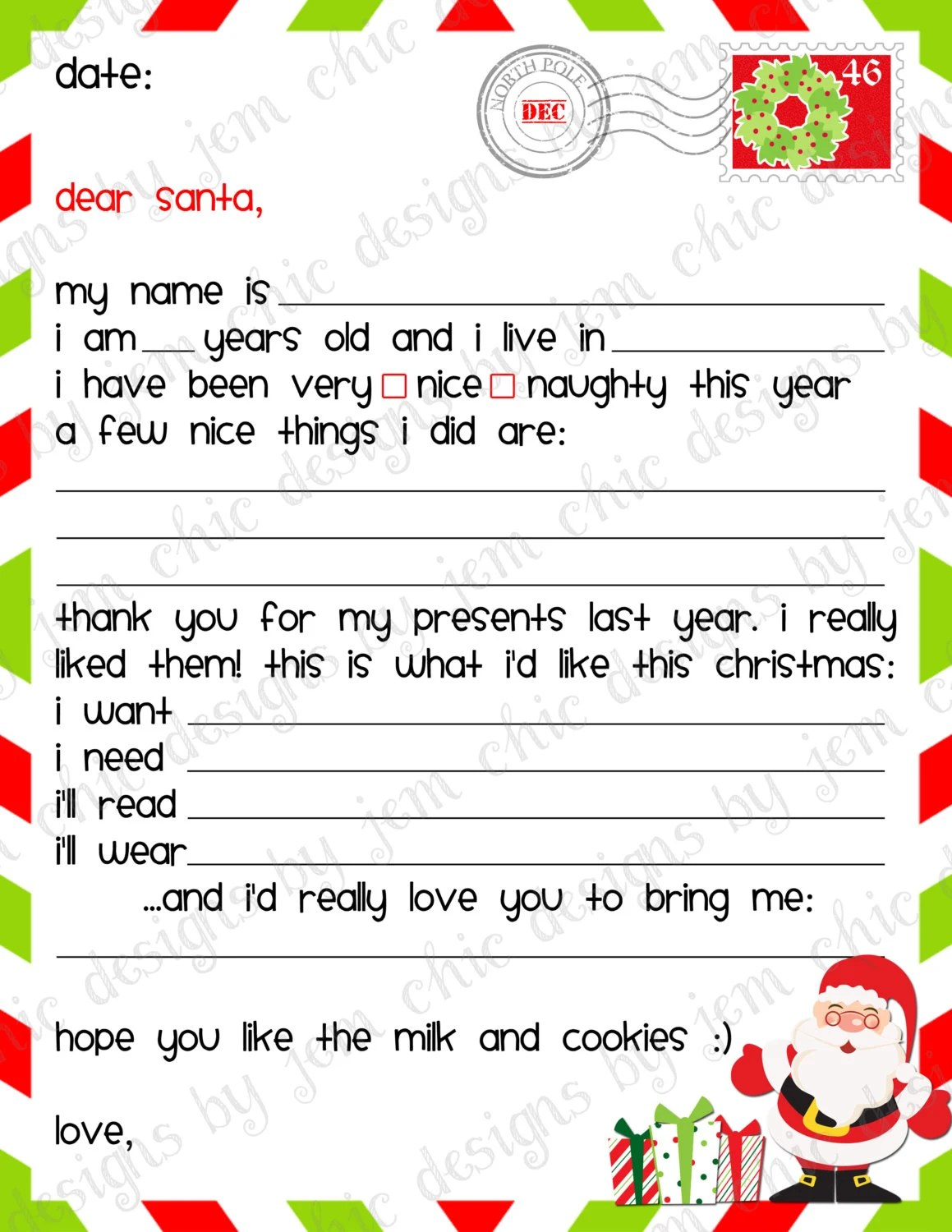 Kids Christmas Wishlist Printable Dear Santa By