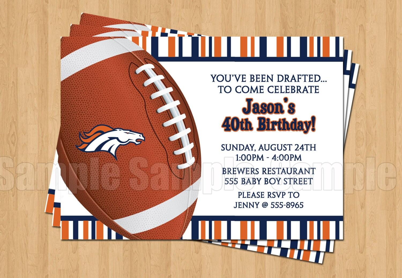 Denver Broncos Birthday Party Invitations