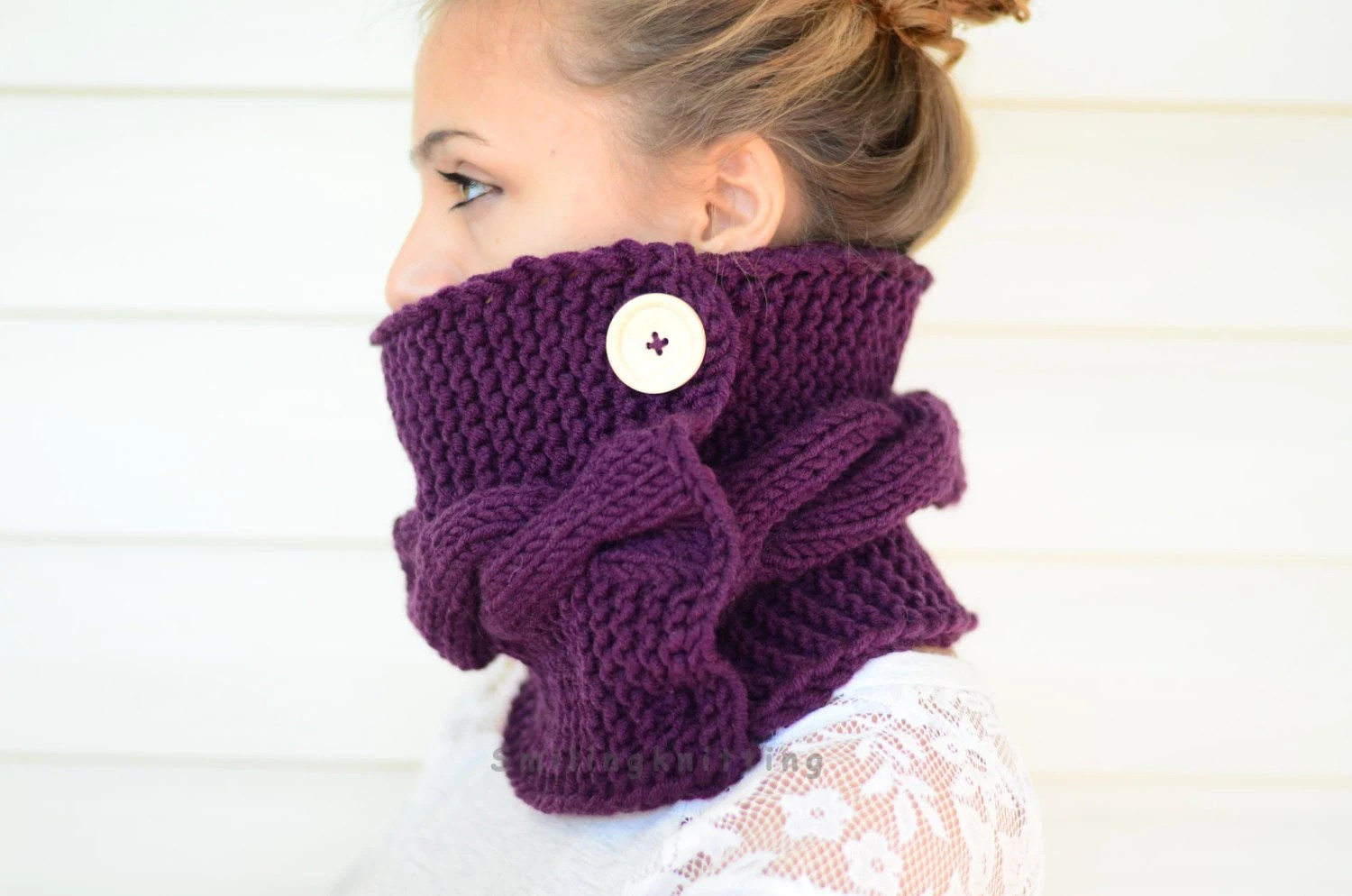 Plum Knit Cowl, Hand Knit Cowl, Purple Scarf, Knit Scarf, Chunky Cowl, Christmas Gift, Neck Warmer, Wood Button, Gift For Her, Gift Under 30 - SmilingKnitting