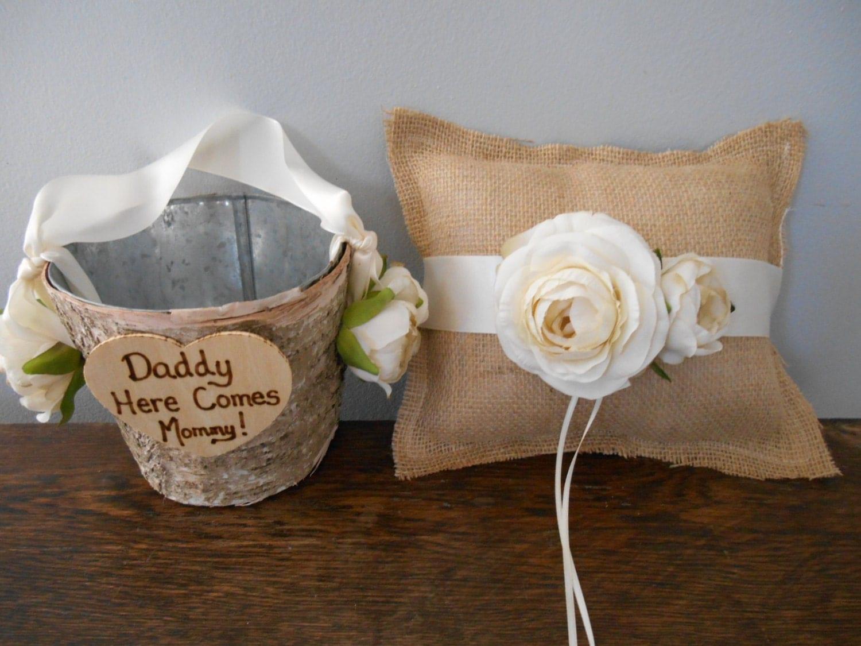 Rustic Flower Girl Basket And Burlap Ring Bearer Pillow SET