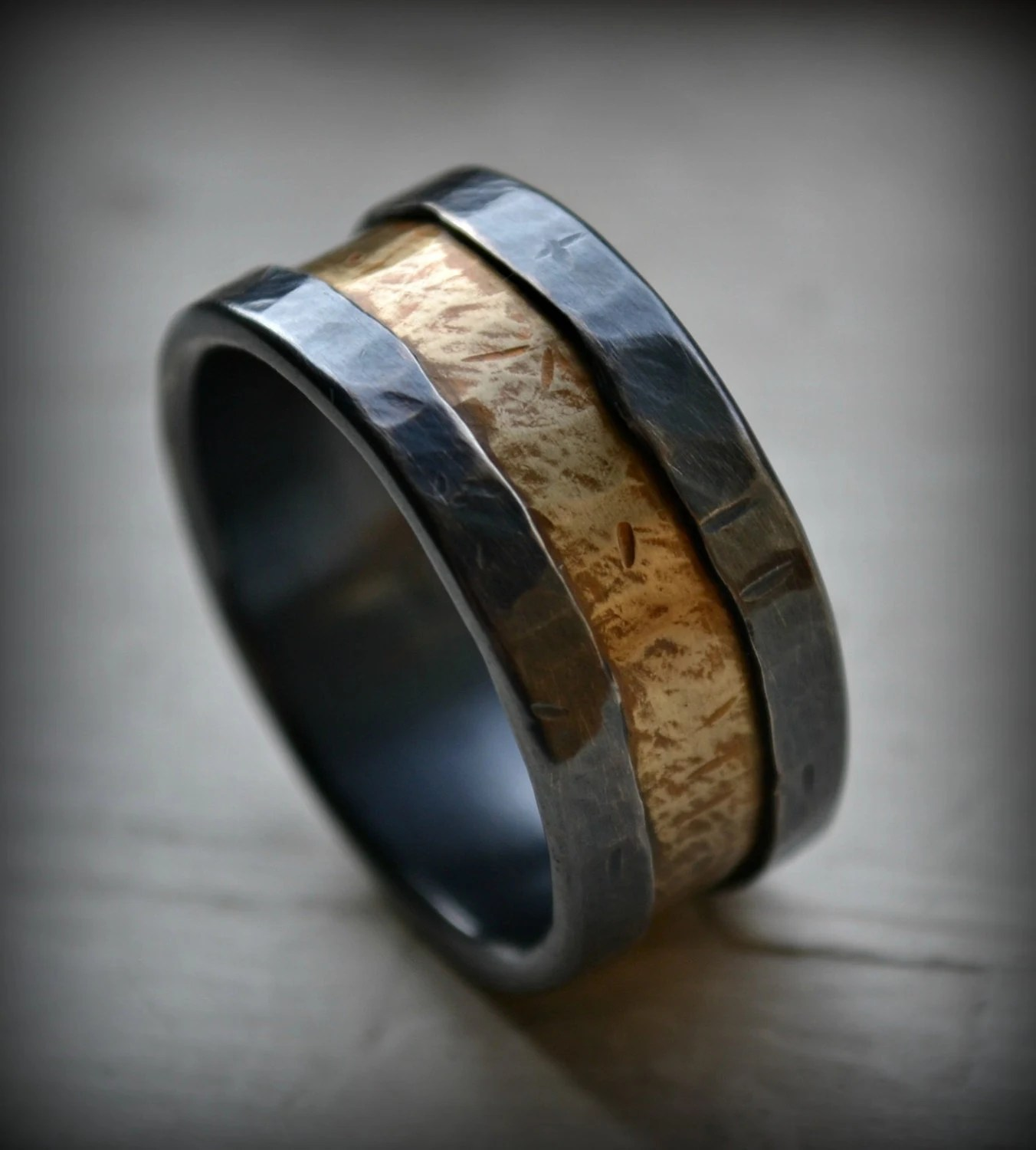 Mens Wedding Band Rustic Fine Silver And Brass Ring Handmade