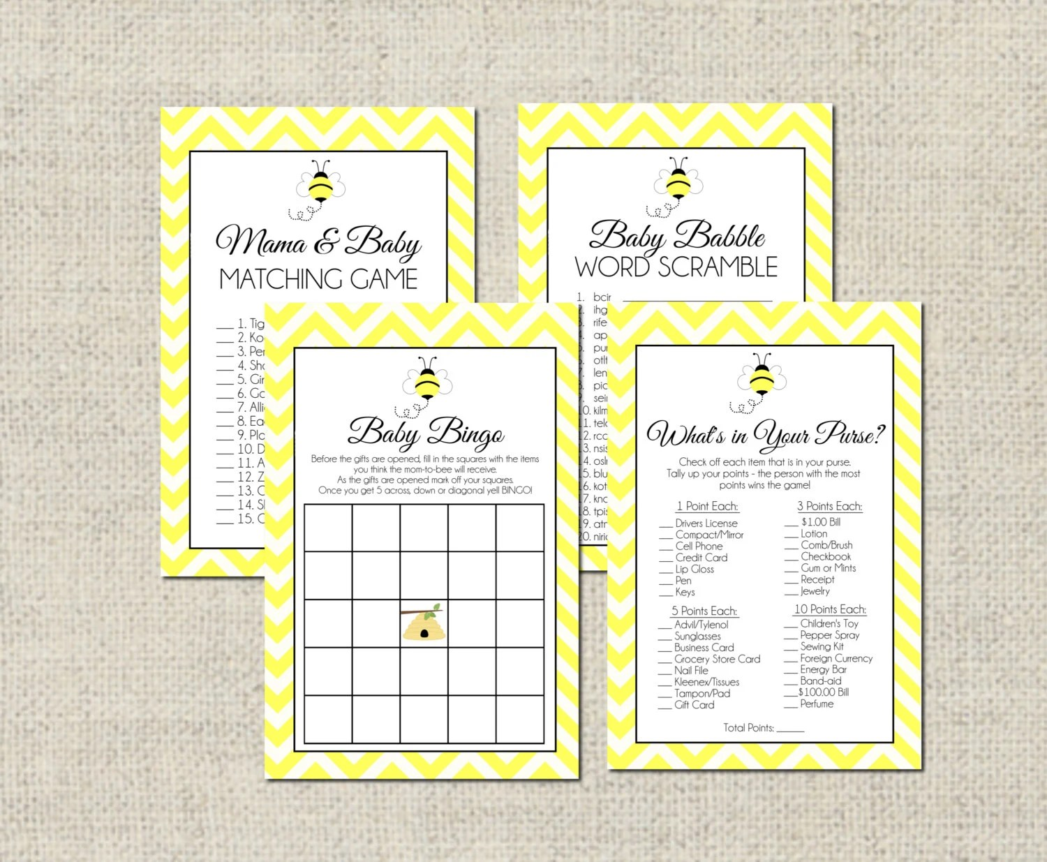 Bumble Bee Baby Shower GAME PACKAGE Printable Baby Shower