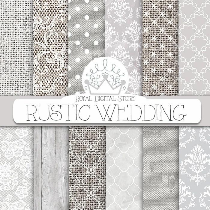 Wedding digital paper rustic wedding with white for Digital wedding invitations