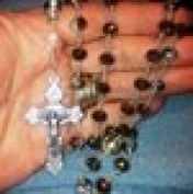 Our Lady of Fatima Fleur De Lis Crucifix Rosary hand wire wrapped