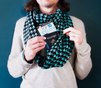 Scarf With Hidden Pocket - perfect for travel or a flask