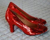 Custom Style Sequin and Rhinestone Dorothy Ruby Red Slippers Wizard of Oz Weddings Halloween Ballet Flats Round or Pointed Toe Stilettos - CustomSparkles