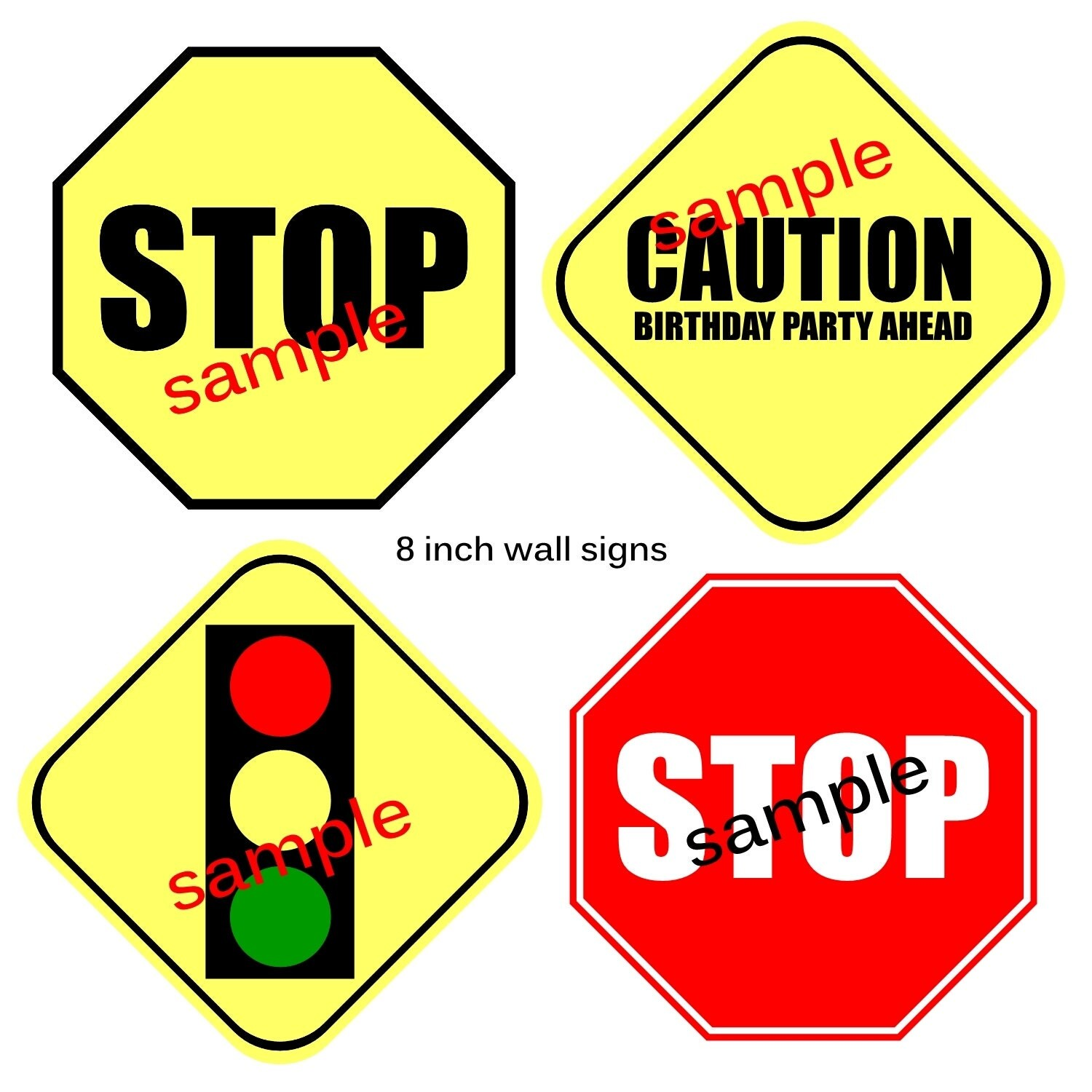 Instant Download Traffic Signs 8 Inch Printable Party