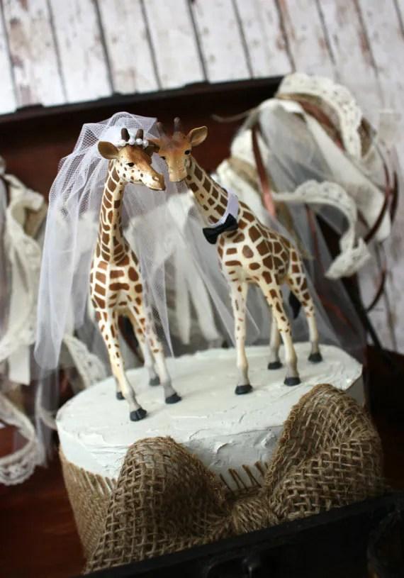 Giraffe Wedding Cake Topper Animal Wedding By MorganTheCreator