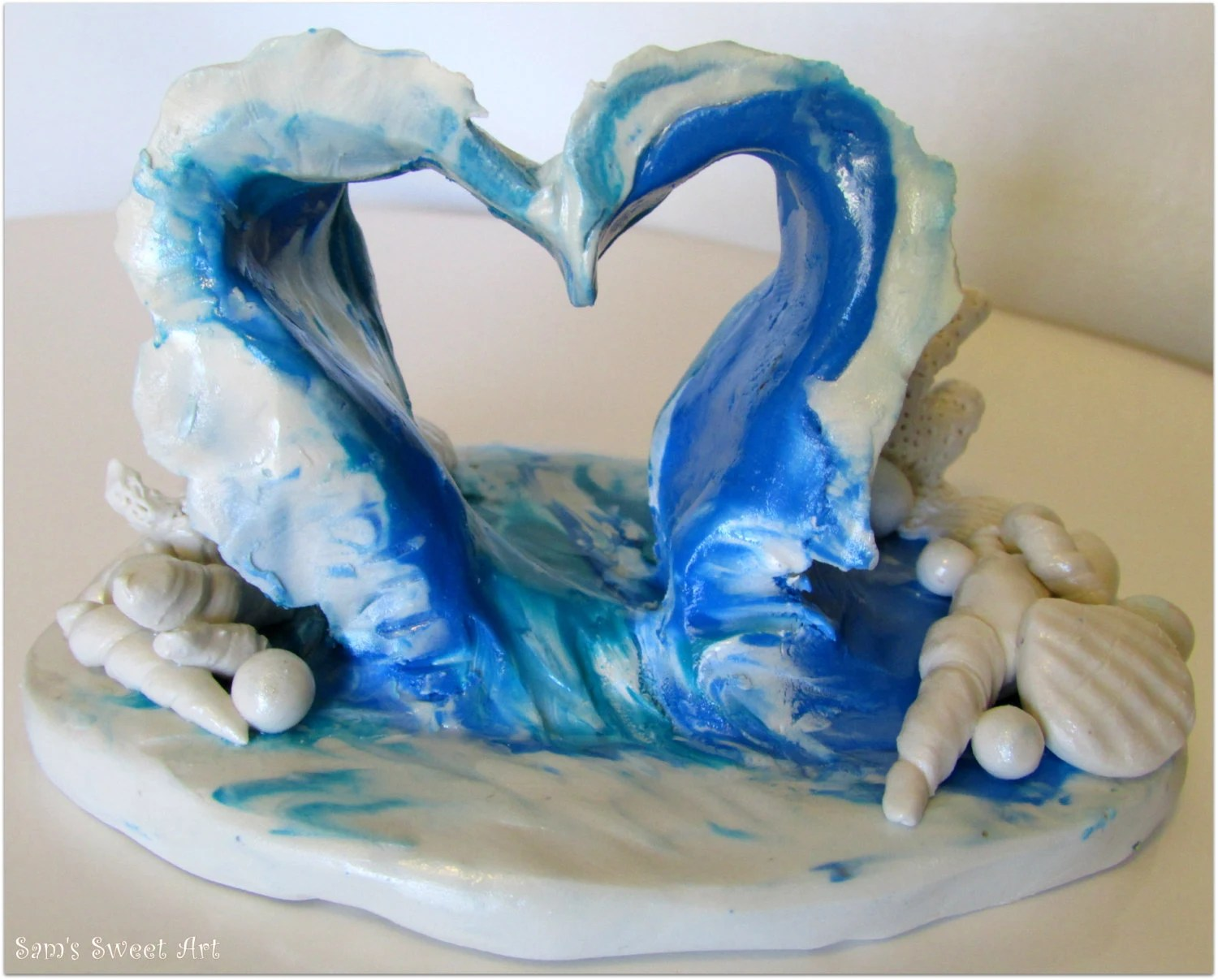 Ocean Wave Heart Wedding Cake Topper Beach Wedding Cake