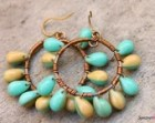 Teardrop hoops - Teardrop Chandeliers - Aqua and Ivory Teardrop Hoops - Dressy Hoops