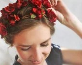 red flower crown, wedding hair accessories, red bridal hairpiece -OUT WANDERING- rose floral crown, flower girl hair wreath, headpiece