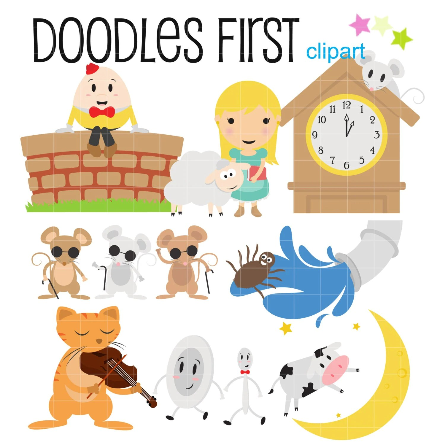 Nursery Rhyme Characters Digital Clip Art For Scrapbooking