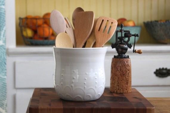 White Kitchen Utensil Holder