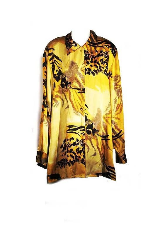 Exotic Silk Shirt in Yellow and Black - Size Large - RadResale