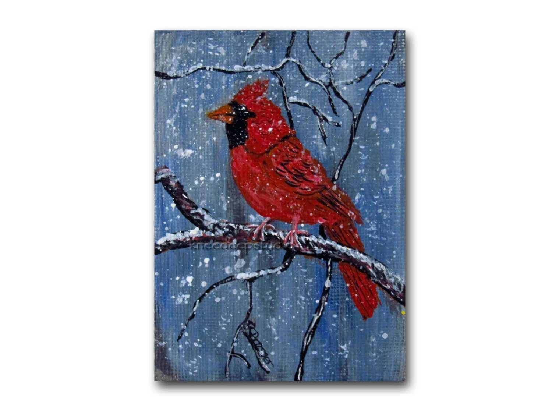 Winter Cardinal fine art ACEO original acrylic on linen miniature bird painting red bird snow tree branches black friday gift under 40 - KneeDeepOriginals