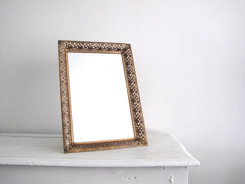 Gold Metal Mirror Tray Vanity Tray Gold By SnapshotVintage