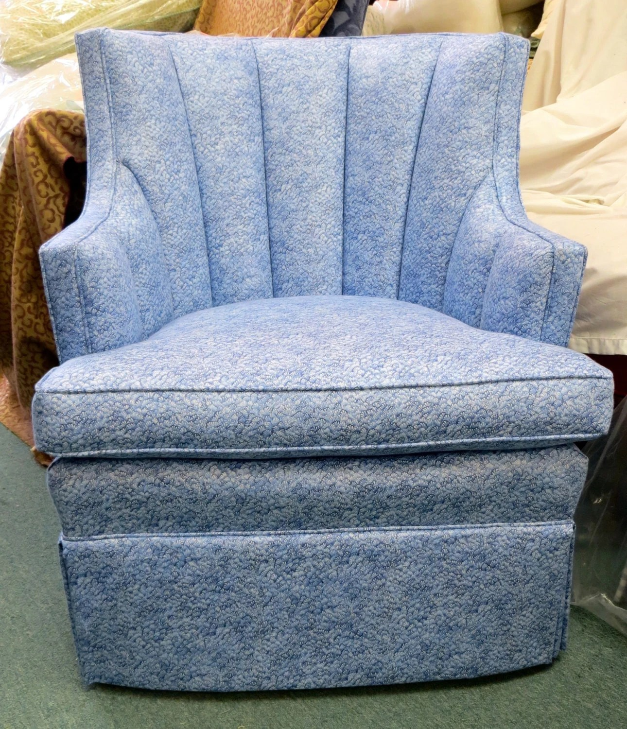 Accent Chair Blue Upholstered