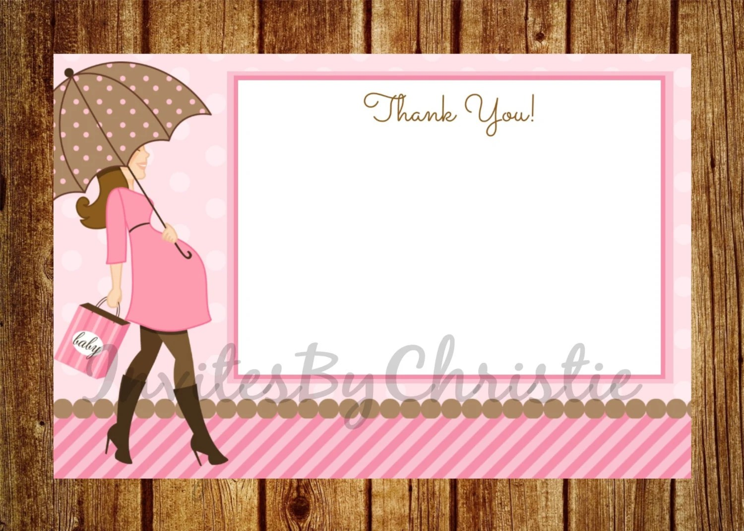 Instant Download Pregnant Woman With Umbrella Thank You Card