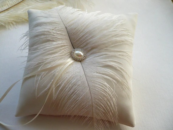 Ivory ring pillow Wedding ring pillow Ring pillow with feathers