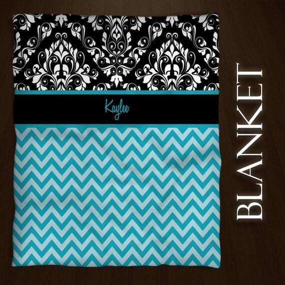 Personalized Throw Blanket Fleece Baby Blanket Teen Chevron