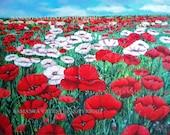 Art print, original art, poster,original painting by Samanta Valente with red poppies and white 8x11inch. - samantart