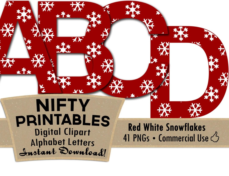Christmas Snowflakes Alphabet Letters Red White Alphabet