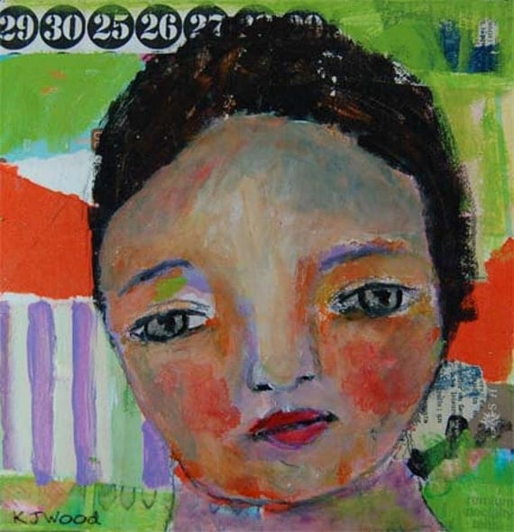 Acrylic Portrait Painting, Nellie, 8x8 Collage, Mixed Media, Canvas, Original, Mixed Media, Girl, Orange, Lime Green, Stripes
