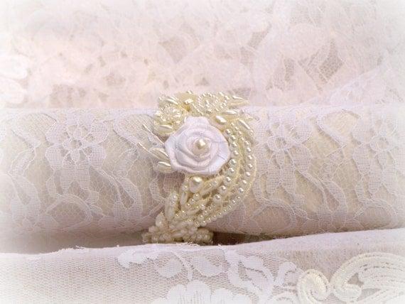 Gelin Boncuklu Dantel Kol Vintage Stil - Düğün İnciler Bilezik - Düğün Takı, LAURA