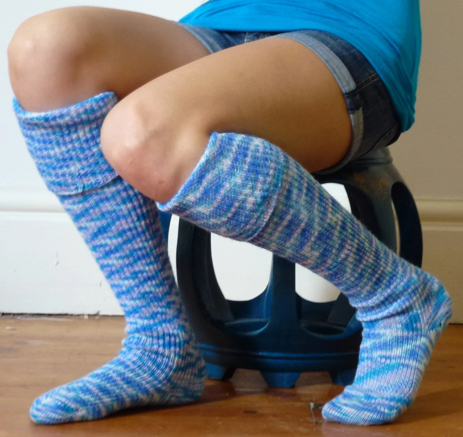 Knee high KNITTED SOCKS - turquoise, lavender and white  Over the knee hand made - footfetishsocks