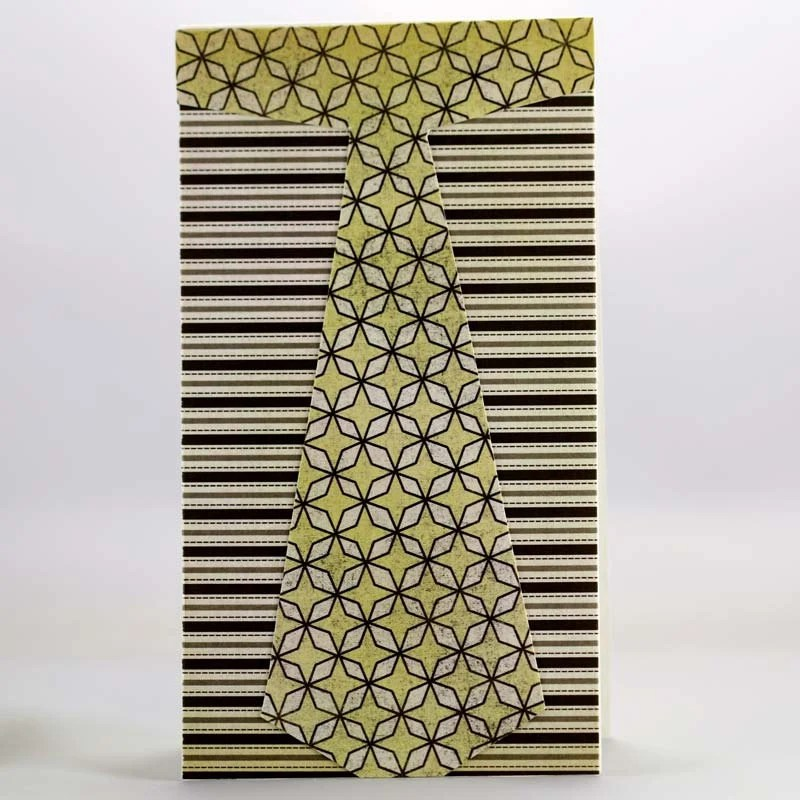 Tie 3: Blank Note Card, Necktie Design Created with Patterned Paper, Handmade paper card,