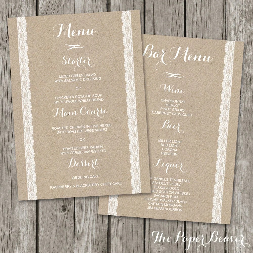 menu templates for weddings - wedding menu printable bar menu template kraft paper