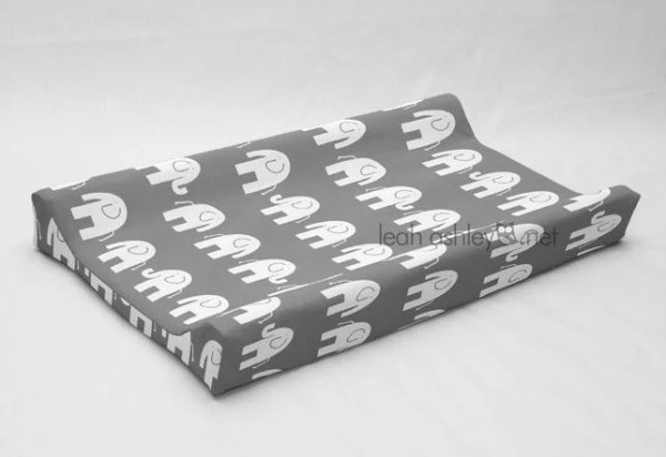 Changing Pad Cover Contoured Gray White Elephant by ...