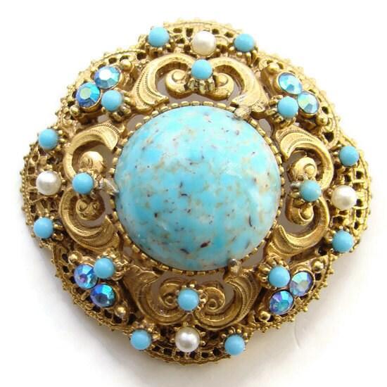 Gold Opal Florenza Clip Earrings