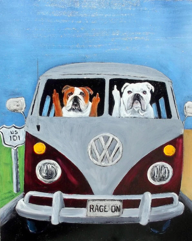 "English Bulldog Dog Art Print/""ROAD RAGE""/by Original Mike  Holzer/VW/Bus/Volkswagon"