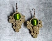 Green beige soutache earrings - murano glass earrings - hand embroidered earrings jewelry embroidery Bridal Party Wedding  Earrings - ShoShanaArt