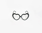 Black heart glasses kit, heart shaped glasses with zircons, valentines fashion - plot
